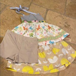 Matilda Jane Top Carter's Skirt W/Shorts Size 6
